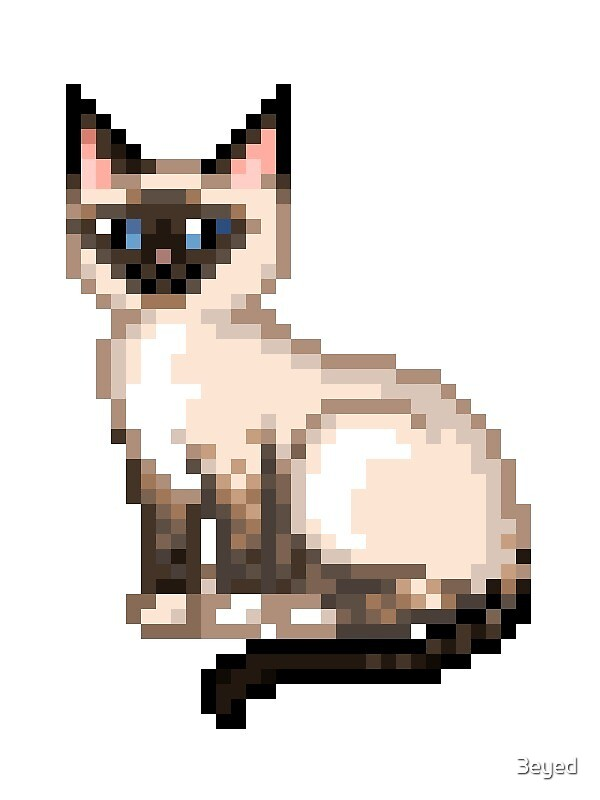 Siamese Pixel Cat By 3eyed Redbubble