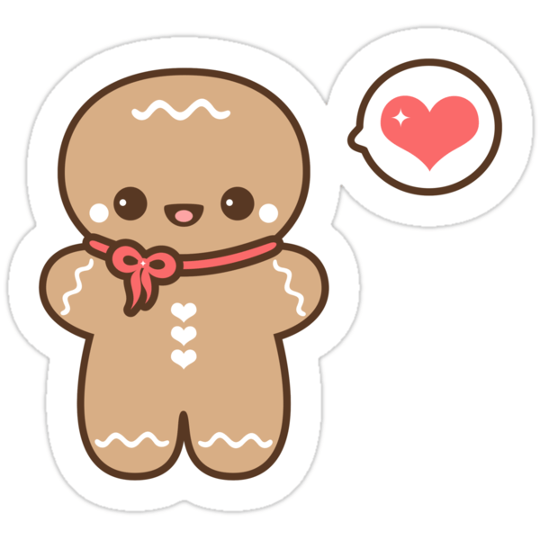 Cute Gingerbread Man Stickers By Sugarhai Redbubble
