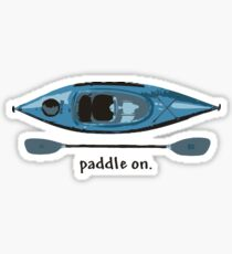 Blue Kayak with paddle illustration, and