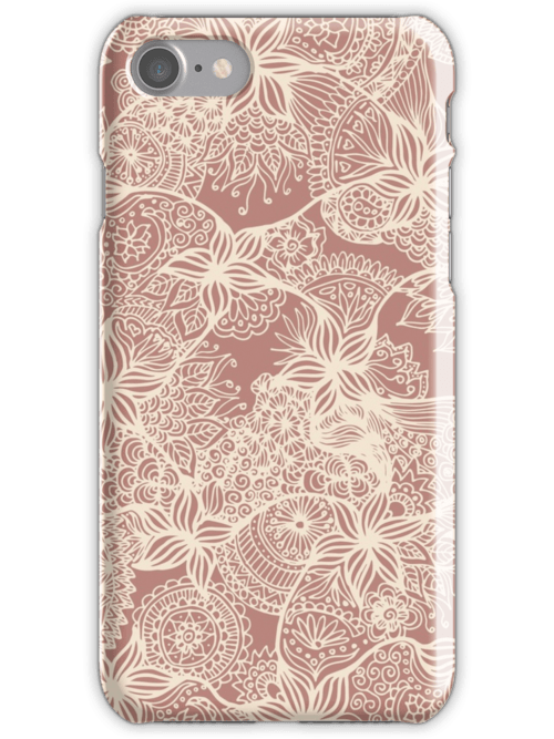 rose gold floral doodles iphone case