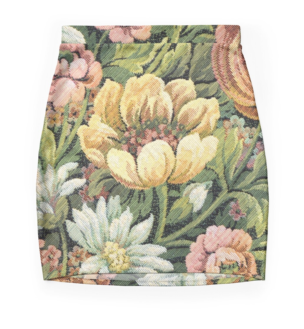 'Grandma's Couch Vintage Floral' Mini Skirt by yonni