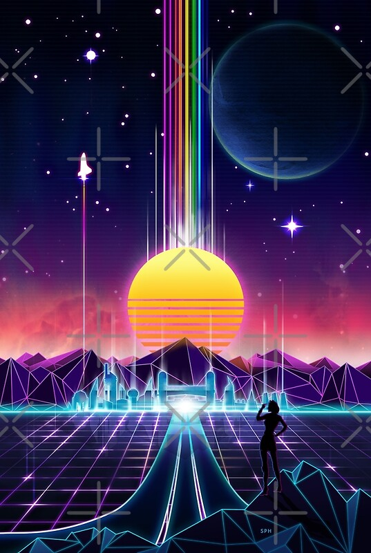 Neon Sunrise Synthwave Art
