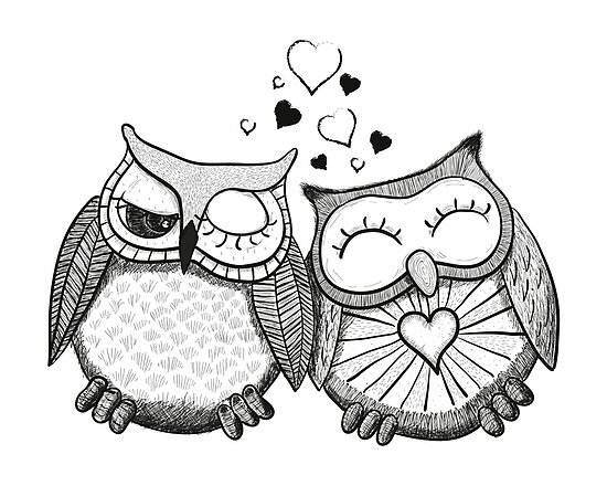 Cute Black And White Owl Couple By Fuchs Und Spatz