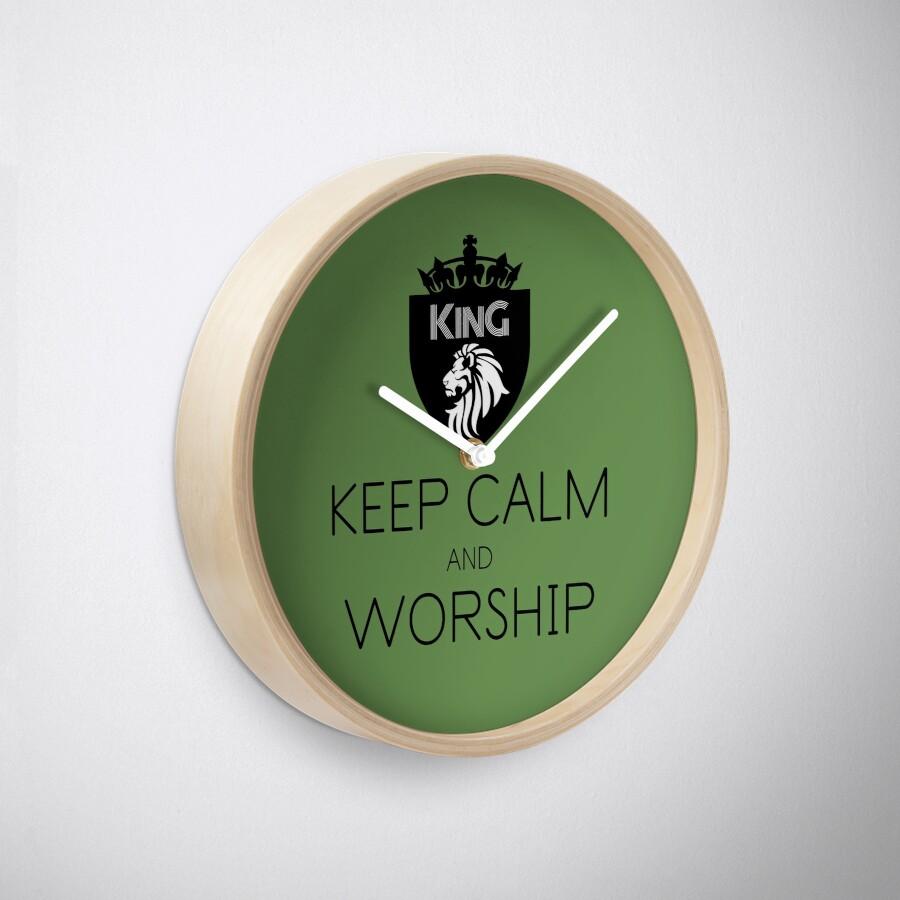 Christian Spiritual Warfare KEEP CALM AND WORSHIP Clock