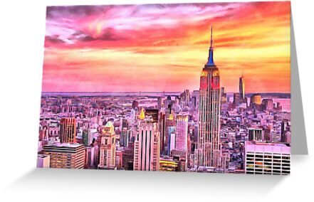 NYC Sunset watercolor painting new york city big apple brooklyn     NYC Sunset watercolor painting new york city big apple brooklyn manhattan  sunrise empire state building by