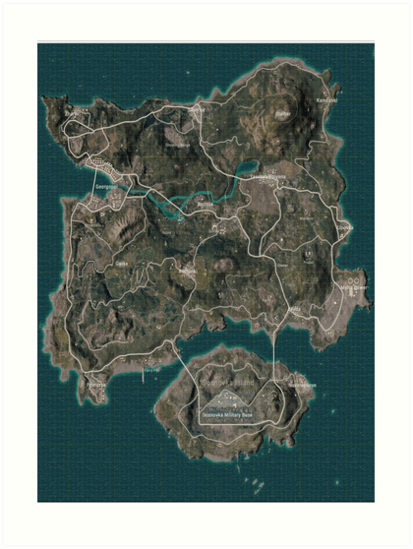 PUBG Erangel Map  Art Prints by RipPepe   Redbubble PUBG Erangel Map by RipPepe