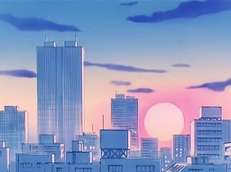 Image result for city 90s anime gif