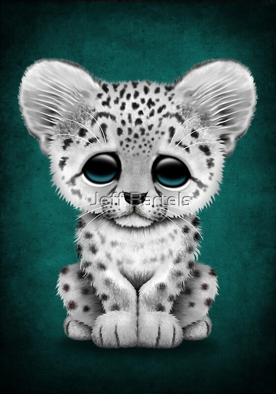 Cute Baby Snow Leopard Cub On Teal Blue Art Prints By