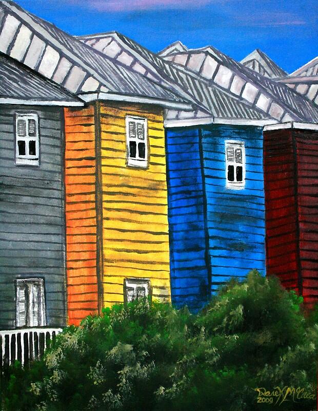"""""""beach houses acrylic painting modern art"""" by derekmccrea ... on Modern House Painting  id=29996"""