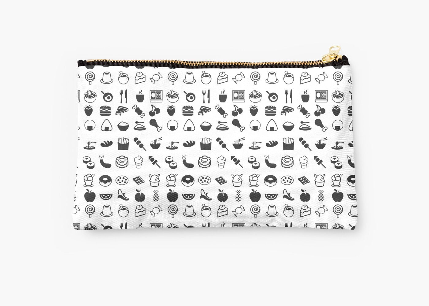 Black Amp White Food Emojis Studio Pouches By Shadeenlois