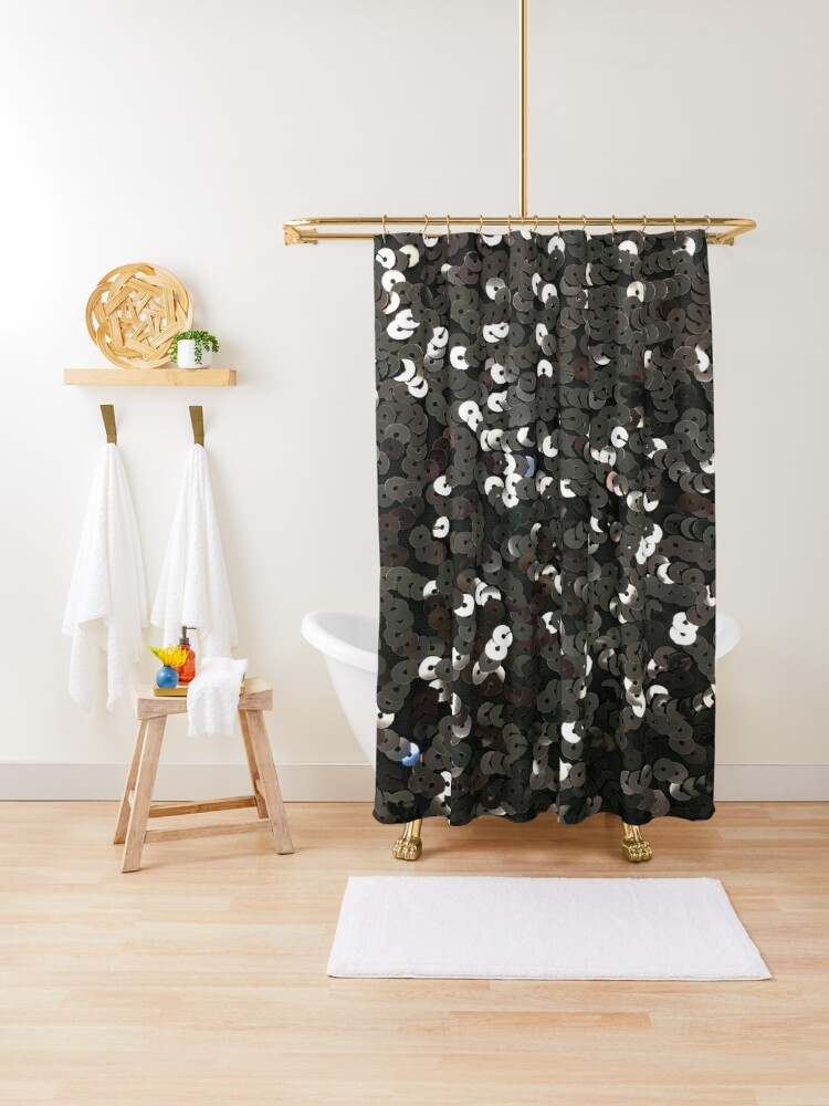 contemporary fashionista bling glamour sparkly black sequins shower curtain by lfang77 redbubble