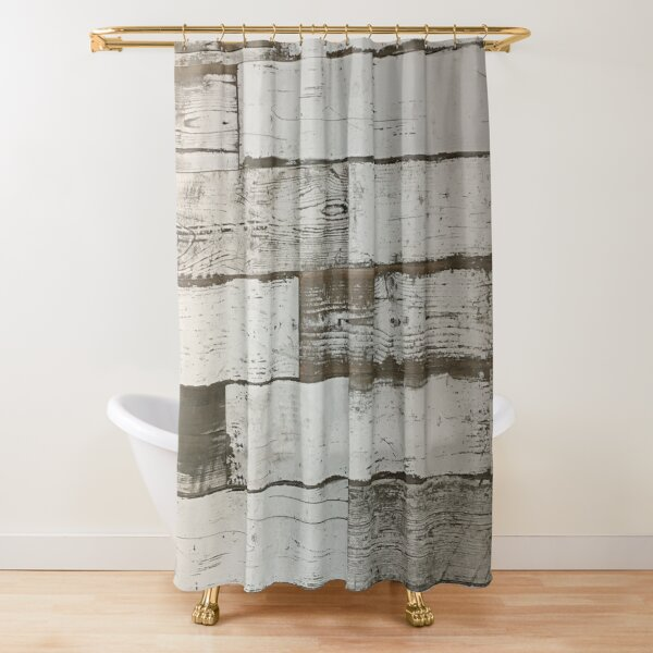 beachy shabby chic french country white washed wood shower curtain by lfang77 redbubble