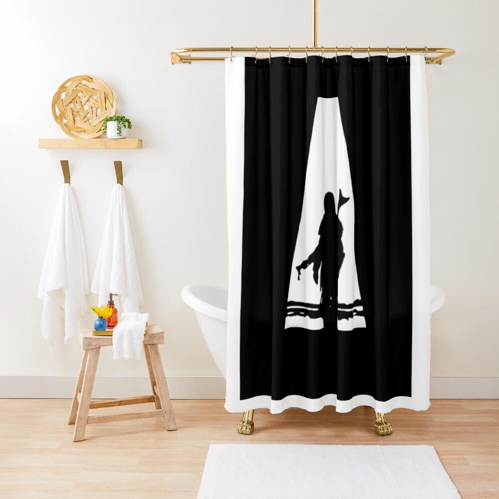 din djarin silhouette shower curtain by lotr fan redbubble
