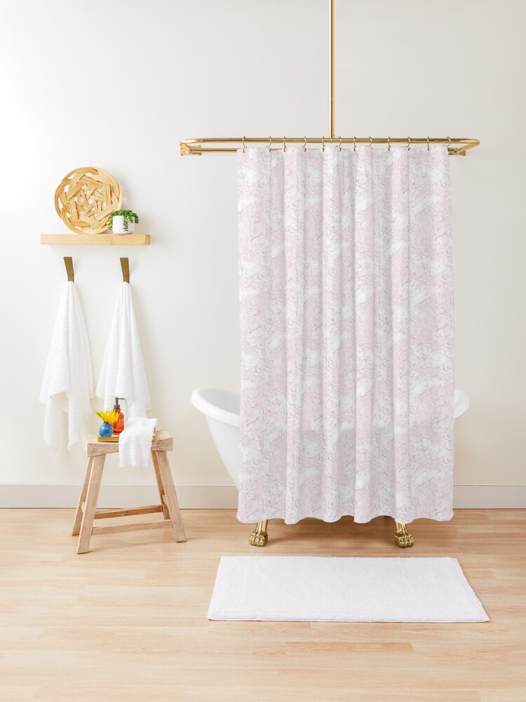 pink gold shower curtain by minskate redbubble