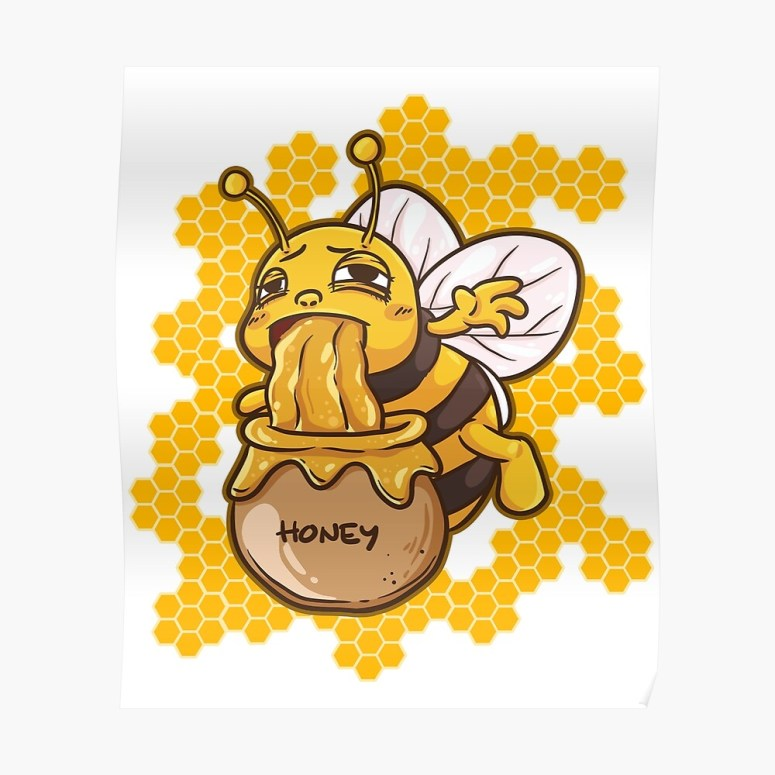 """Funny Honey Bee Throwing Up in a Honey Jar"""" Sticker by PragmaticFalcon 