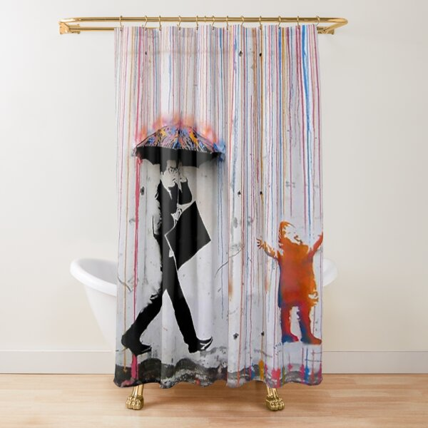 banksy umbrella rainbow gluckliches madchen duschvorhang von donbyrd76 redbubble