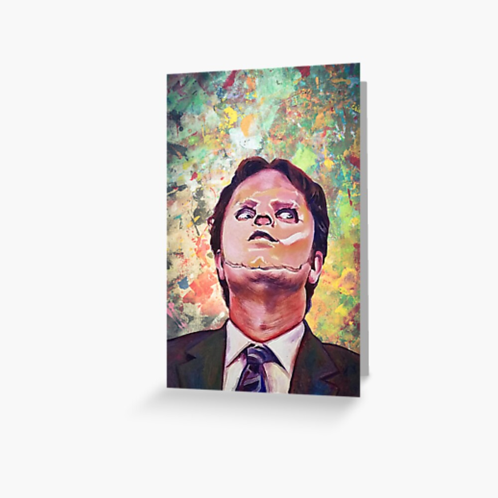 dwight schrute the office the office poster dwight schrute poster greeting card by johnabb redbubble