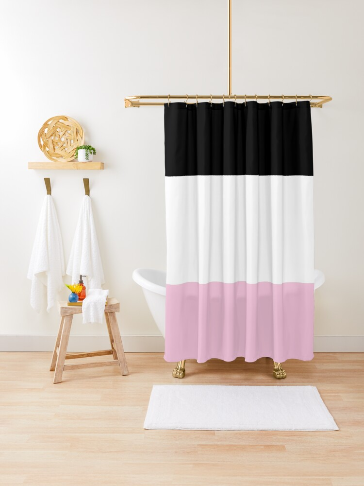 black white pink color blocks shower curtain by speckled redbubble