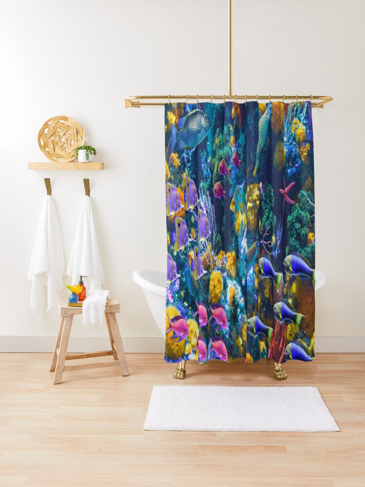 tropical fish shower curtain by stuartk redbubble
