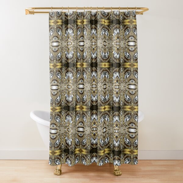 vintage art deco jewelry flower champagne gold rhinestone shower curtain by lfang77 redbubble