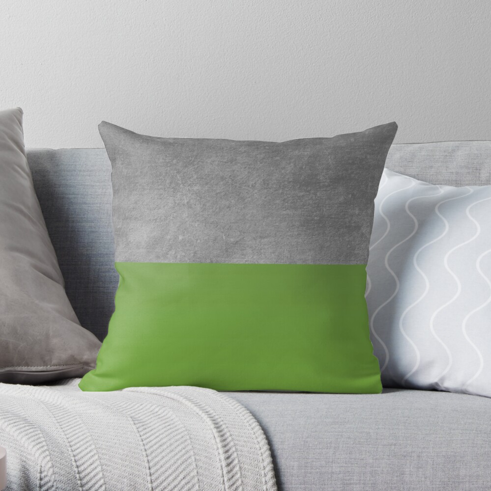 concrete and forest green color block throw pillow by modoki redbubble