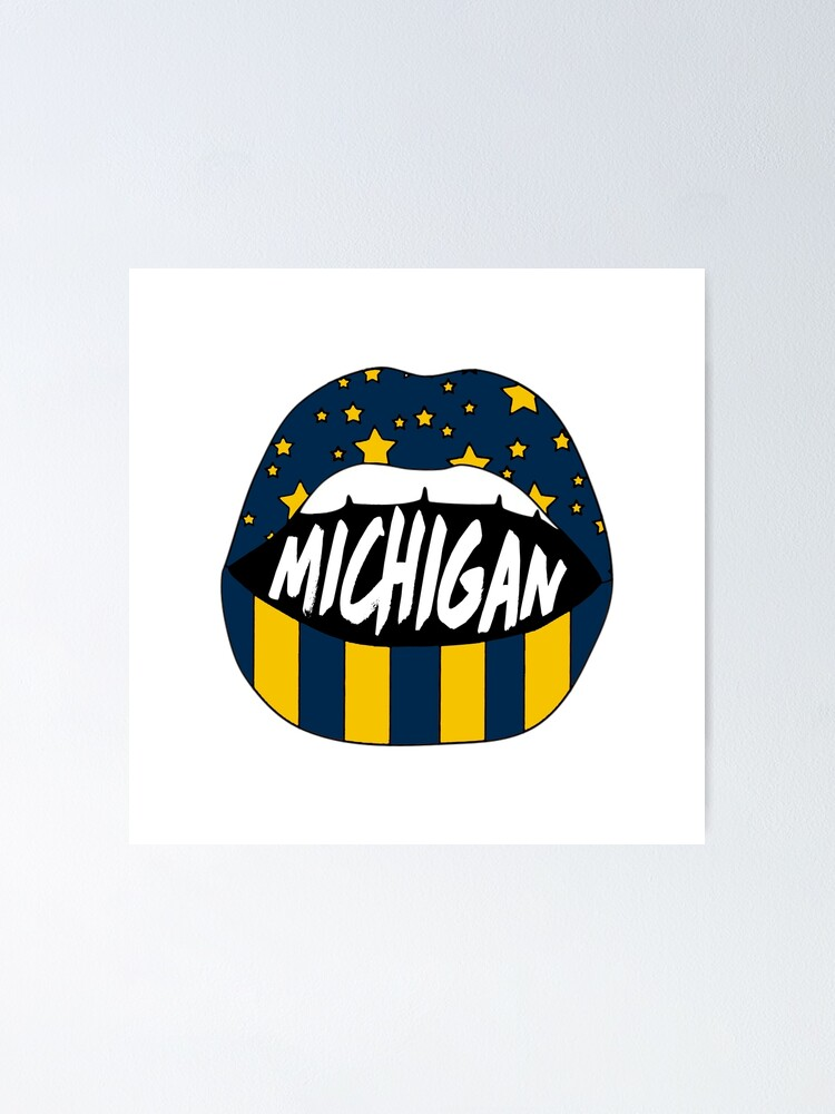 umich lips poster by jillhenriques redbubble
