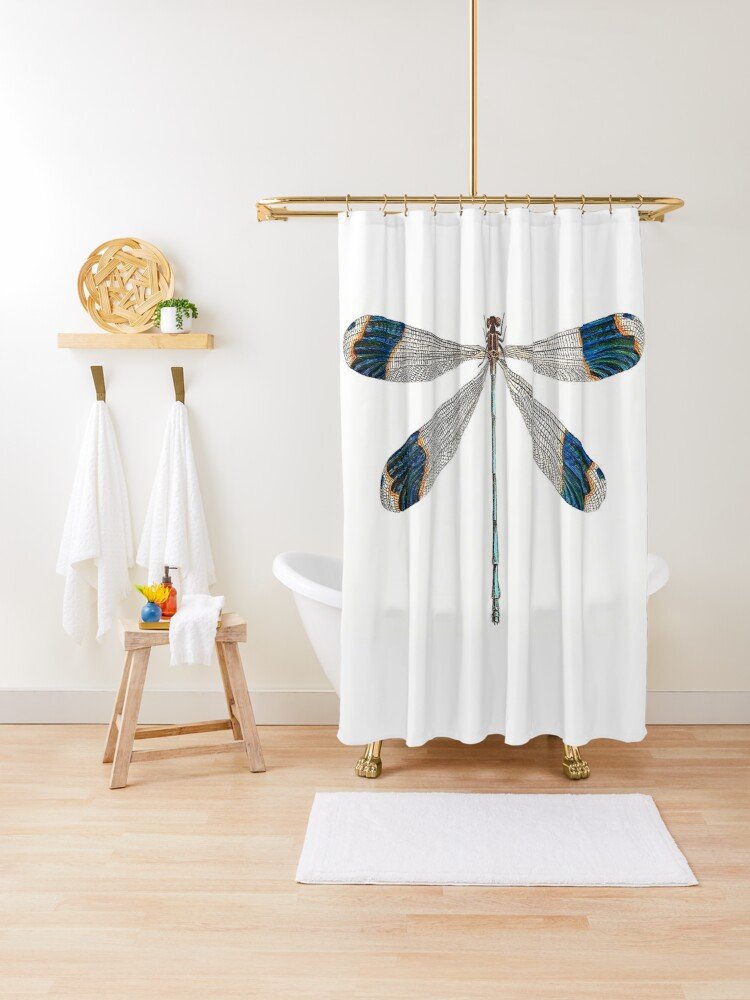 dragonfly vintage shower curtain by pushka3 redbubble