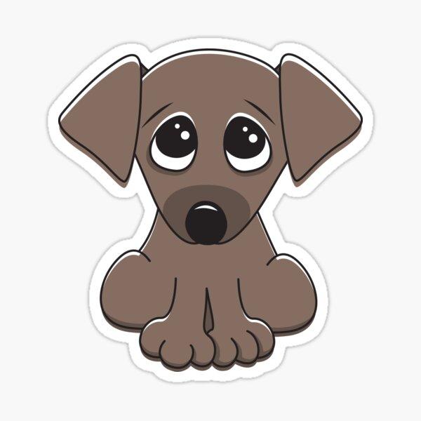 Cute Cartoon Dog With Big Begging Eyes Sticker By Mheadesign Redbubble