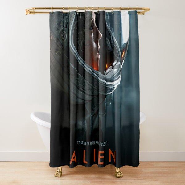 alien 1979 movie art shower curtain by einsteinjackson redbubble