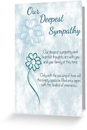 Our Deepest Sympathy Blue Sketched Flowers With Sentiment