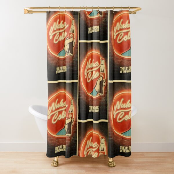 nuka cola shower curtains redbubble