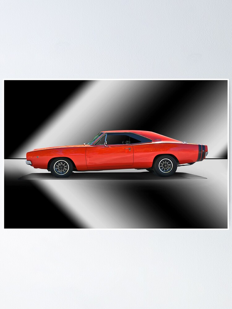 1969 dodge charger poster by davekoontz redbubble