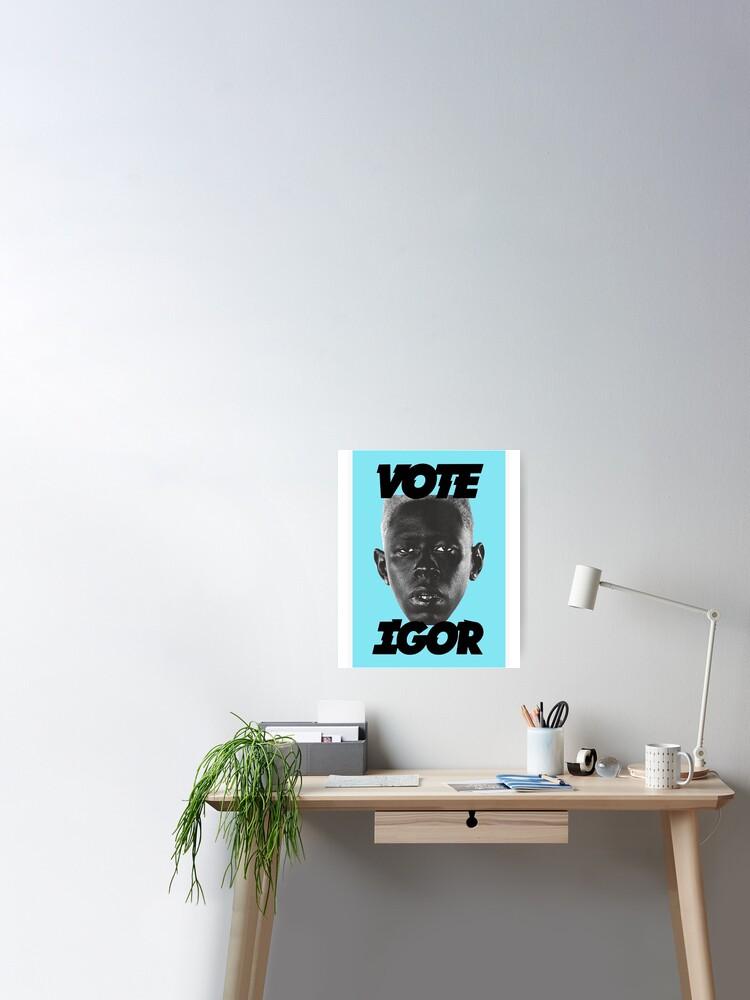 vote igor blue cover poster von yan c redbubble