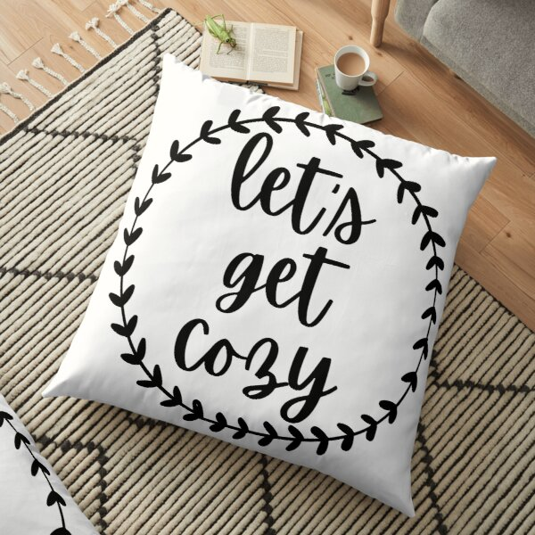 lets get cozy pillows cushions redbubble