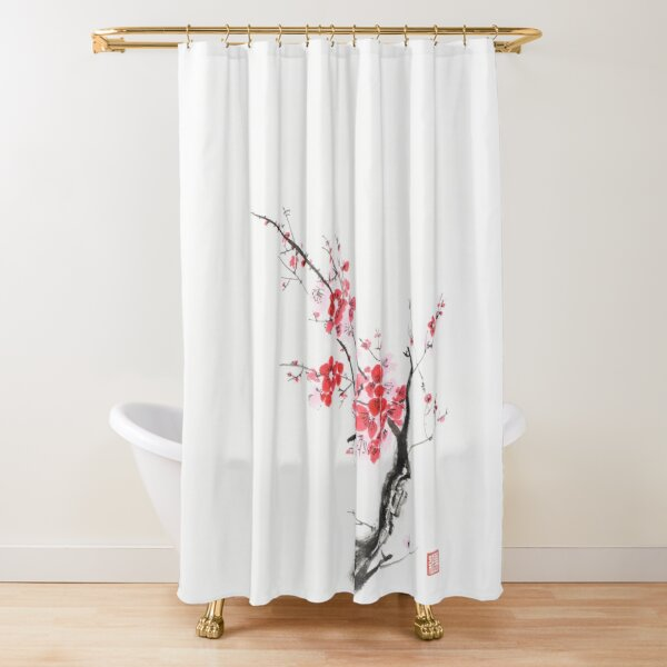 elegant branch of cherry blossom with pink flowers on white oriental sumi e painting art print shower curtain by awenartprints redbubble