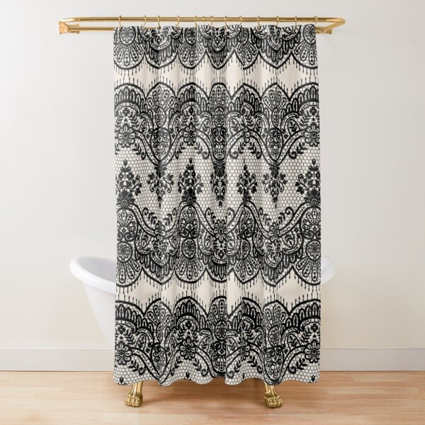 black lace shower curtain by golddragonfly redbubble
