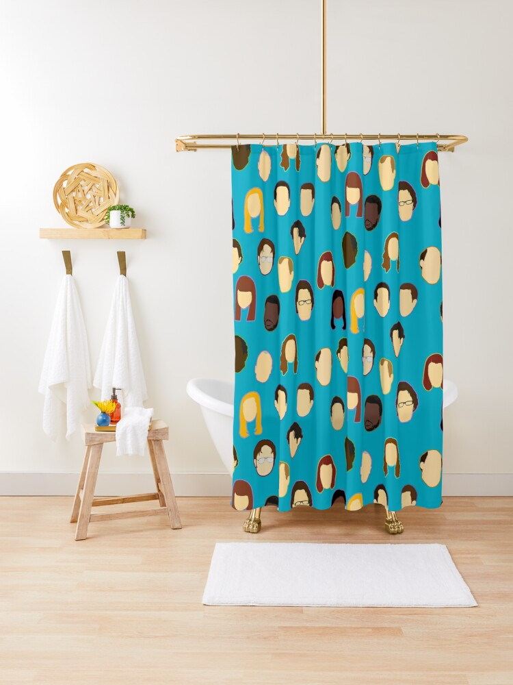 the office heads custom teal shower curtain by pickledbeets redbubble