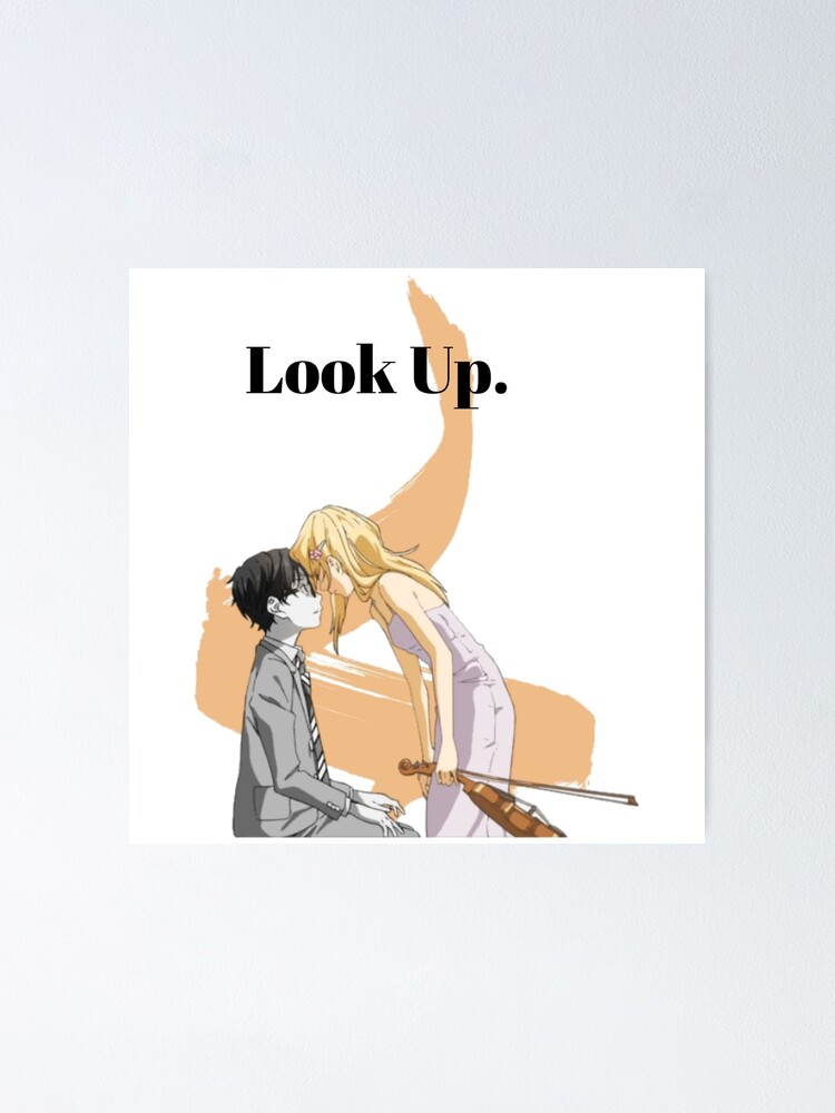 your lie in april cute kosei x kaori poster von shindouart redbubble