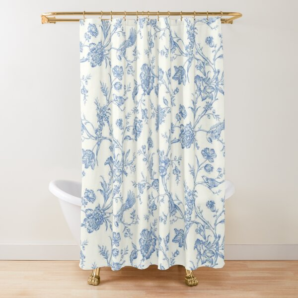 blue bird toile shower curtain by keepmefloating redbubble
