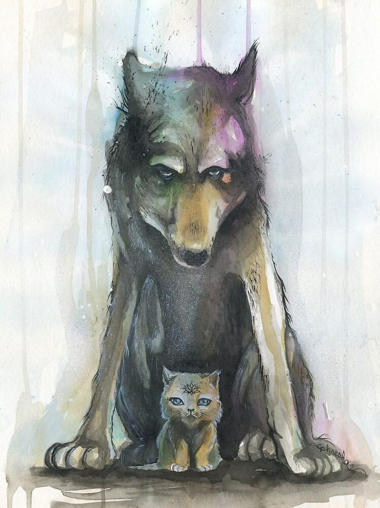 Wolf Amp Kitten By Phresha Redbubble
