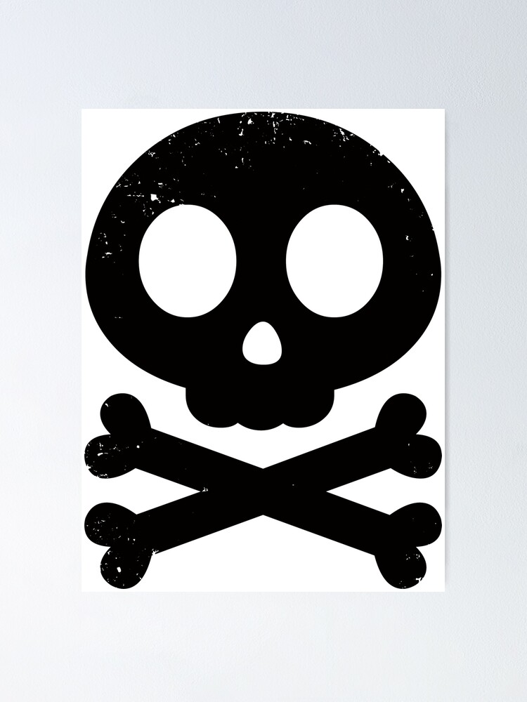 Cute Skull And Crossbones Black Icon Symbol Cute Distressed Poster By Psychiccatstore Redbubble