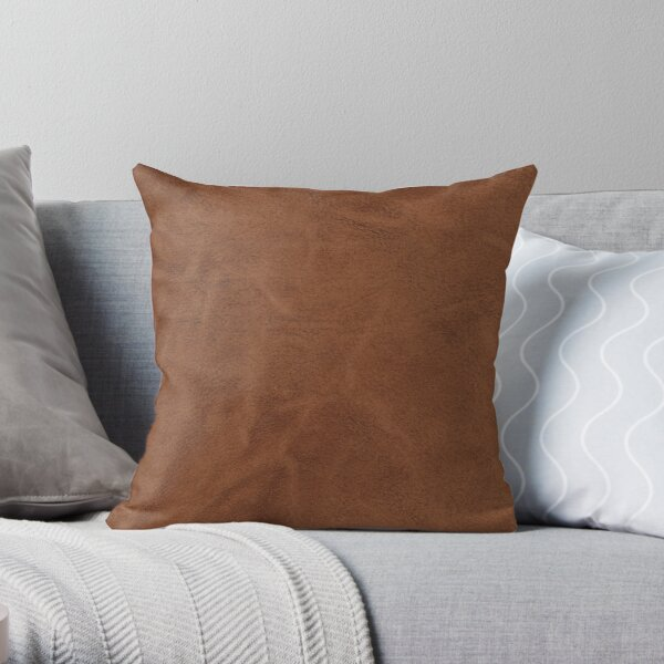 brown leather design throw pillow by artsywishy redbubble