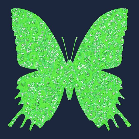 #DeepDream Lime Green color Butterfly