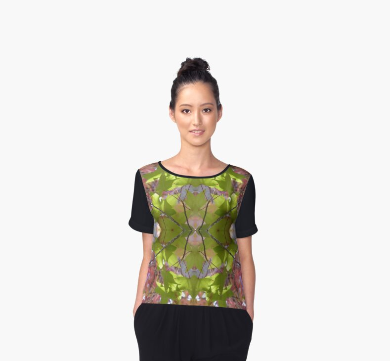 Green Lime Pink Autumn Reflection Chiffon Top