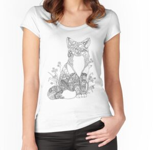 'Colorable Fox Abstract Fox Animal Art Adult Coloring' Women's Relaxed Fit T-Shirt by ArtistryByLM