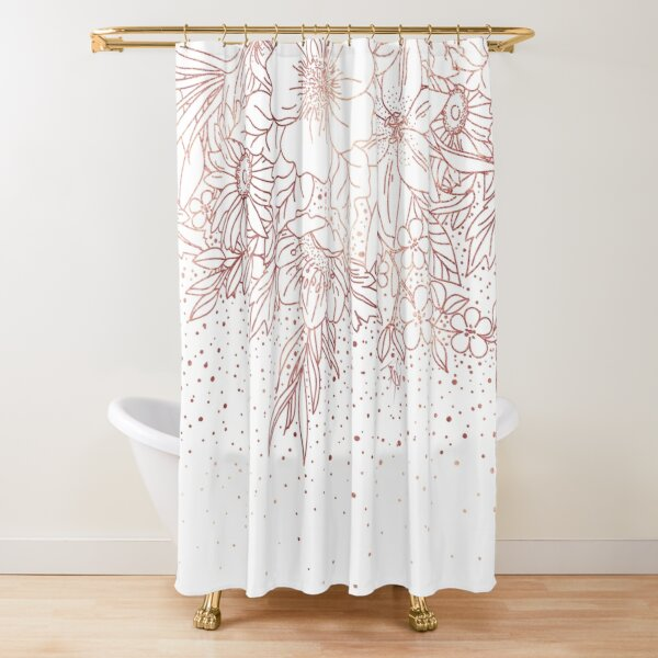 rose gold hand drawn floral doodles and confetti design shower curtain by inovarts redbubble