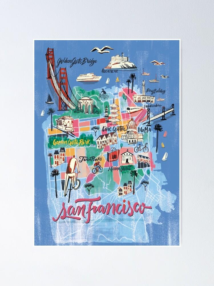 san francisco illustrierte karte poster von franciscomartns redbubble
