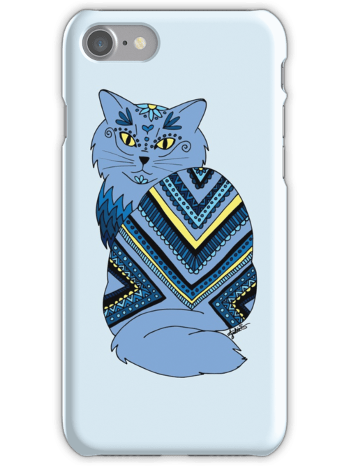 zentangle blue kitty cat iphone 7 cell phone case