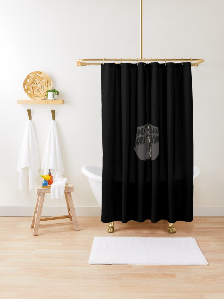 dont open dead inside shower curtain by pride98 redbubble