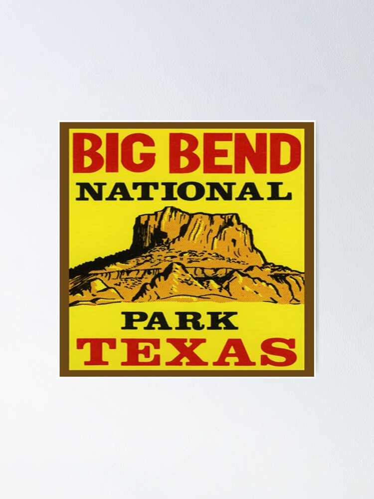 big bend national park texas vintage decal poster by melikeytees redbubble